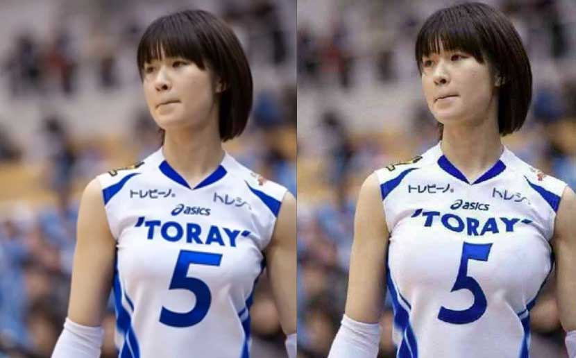 An image (left) of Japanese volleyball player Saori Kimura, and the digitally augmented version (right) posted by Xinhua Sports' Twitter account on Sept. 19, 2016.