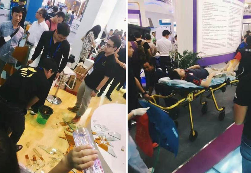 Photos of the scene after Fabo the robot broke the glass (left) and a man injured in the accident being carried on a stretcher. @xinlangkeji from Weibo
