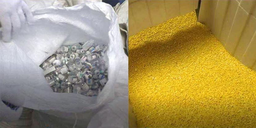 Combined photos show medical waste (left) and processed plastic pellets, Nanjing, Jiangsu province, December 2016. Gu Yuansen/IC